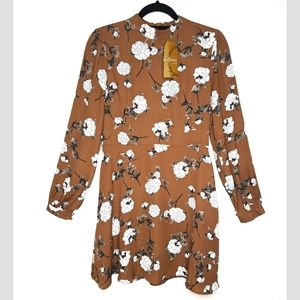 Andree by Unit Long Sleeve Brown Floral Dress, M